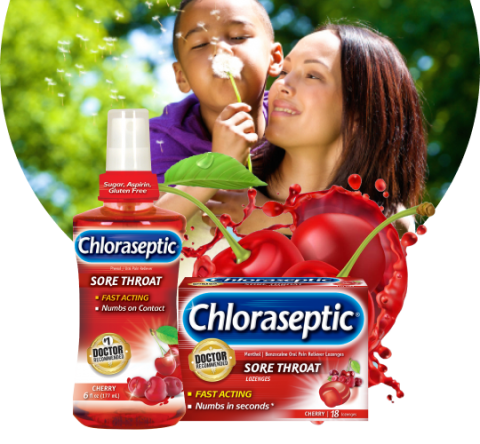 Chloraseptic cherry product with familly